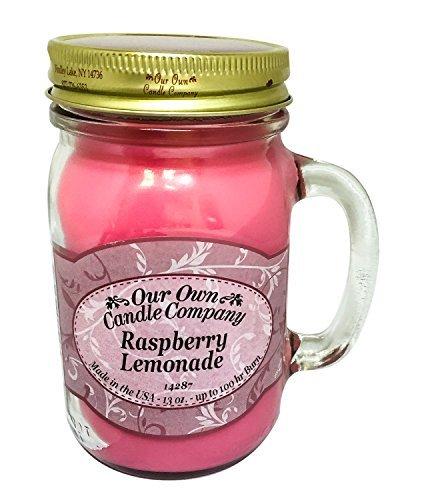 3 X Raspberry Lemonade Scented 13 oz Mason Jar Candle - Made