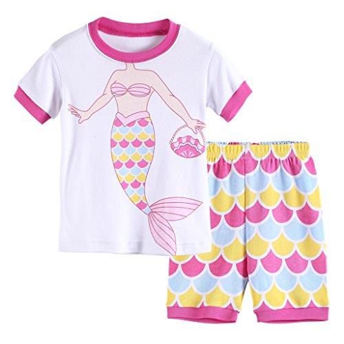 Hsctek Girls' Pajamas Set, Children' Short PJS, Kids' Cotton Sleepwear Clothes(6, Colorful Mermaid ()