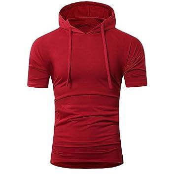 Camiseta Hombres, ❤ Manadlian Camiseta de hombre de verano Sudadera con capucha Moda Hombre de manga corta (CN:XL, Rojo): Amazon.es: Belleza