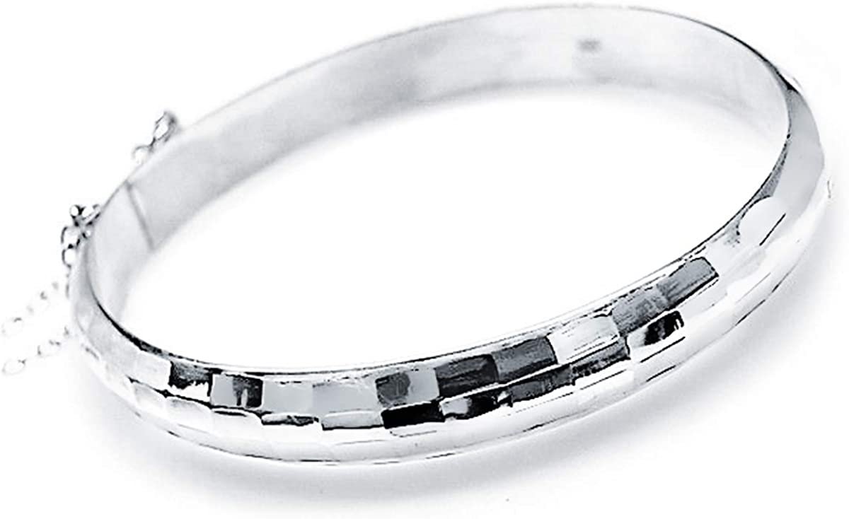 Iyé Biyé Jewels Pulsera Rígida Media Caña Tallada Plata de Ley 925 MLS Mujer Ancho 9 mm. Cierre Clip Cadena Seguridad