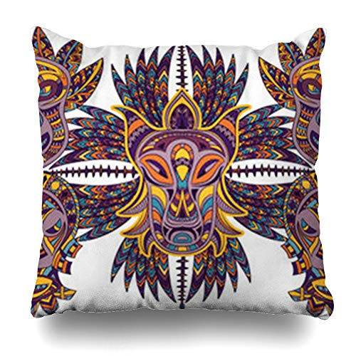 YeaSHARK Throw Pillow Covers Exotic African Tribal Mask Aztec Geometric Latin Face American Pattern Tiki Ethnic Zippered Design Square 16