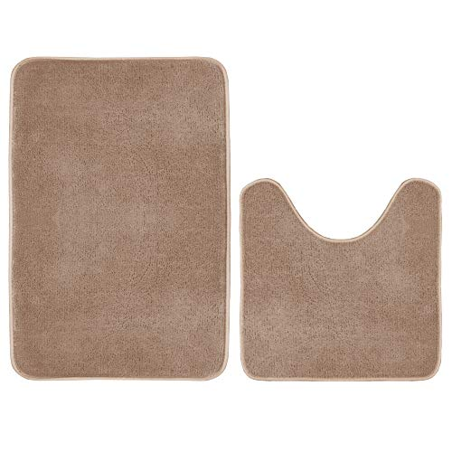 - Bath Rug Set Memory Foam Flannel Non Slip Bath Mat Contour Set 2 Piece, Thick and Durable Bath Rugs (20W X 32L Inches & 20W X 20L Inches), Taupe