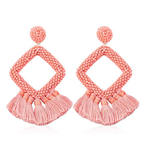 Statement Tassel Bead Earrings Hoop Handmade Drop Dangle for Women Gift for Mother Sister Daily Party with Gift Box KIE137 Pink