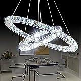 Saint Mossi Modern Circular Led K9 Crystal Raindrop Chandelier Lighting Flush mount LED Ceiling Light Fixture Pendant Lamp for Dining Room Bathroom Bedroom Livingroom H39'' X D16''