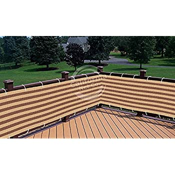 Brown / Khaki Striped Deluxe Outdoor Privacy Screen Mesh Net For Deck