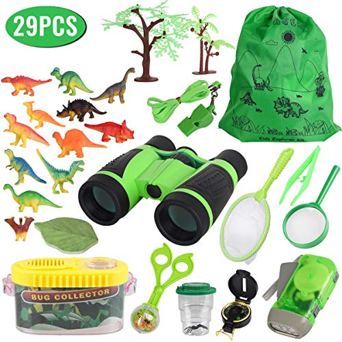 Outdoor Explorer Kit for Kids, Adventure Exploration Toys, Bug Catching Set of 29,Binoculars,Magnifying Glass, Whistle, Butterfly Net, Bug Viewer for Backyard Camping Hiking