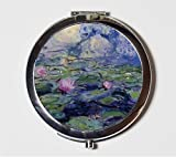 Claude Monet Water Lilies Compact Mirror Impressionist Fine Art Make Up Pocket Mirror for Cosmetics
