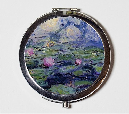 (Claude Monet Water Lilies Compact Mirror Impressionist Fine Art Make Up Pocket Mirror for Cosmetics )