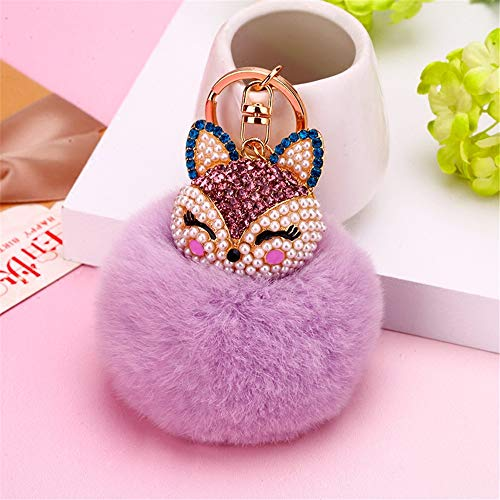 (Reizteko Faux Rabbit Fur Ball Pom Pom Keychain with A Fashion Alloy Fox Head Studded with Rhinestone for Womens Bag Cellphone Car Charm Pendant Decoration (Purple))