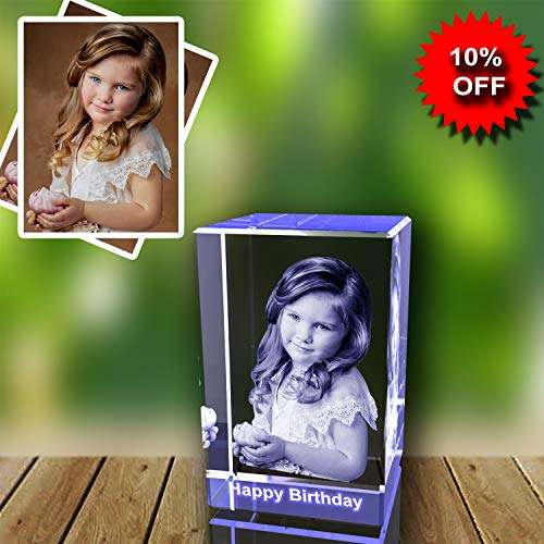 Personalized Custom 3D Holographic Photo Etched Engraved Inside The Crystal with Your Own Picture (Birthday, Wedding Gift, Memorial, Mother's -