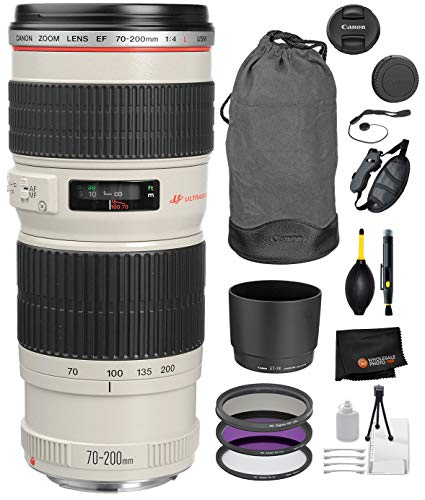 Canon EF 70-200mm f/4L USM Lens with Professional Bundle Package Deal Kit for EOS 7D Mark II, 6D Mark II, 5D Mark IV, 5D S R, 5D S, 5D Mark III, 80D, 70D, 77D, T5, T6, T6s, T7i, SL2