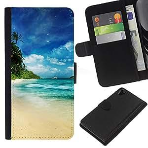 KLONGSHOP // Tirón de la caja Cartera de cuero con ranuras para tarjetas - Dream Island Paradise - Sony Xperia Z2 D6502 //