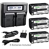 Kastar Battery 3 Pack and LCD Dual Fast Charger for Topcon BT-60Q BT-61Q BT-62Q BT-65Q BT-66Q GMS-2 Survey Instrument Battery, Topcon BC-30 BC-30D BT-30 Charger, Topcon Total Stations