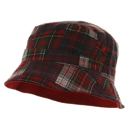 Youth Reversible Twill Plaid Bucket Hat - Red Navy - E4hats Plaid Cap