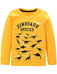 Boys Cotton Long Sleeve T-Shirts T Rex Dinosaur Shirt Tops Tees