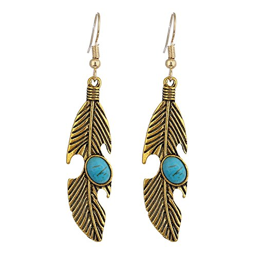 18K Gold Plated antique bronze colored green stone feather charm Women Dangle Earrings