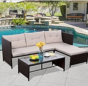 USA Premium Store 3 PCS Outdoor Rattan Furniture Sofa Set Lounge Chaise Cushioned Patio Garden
