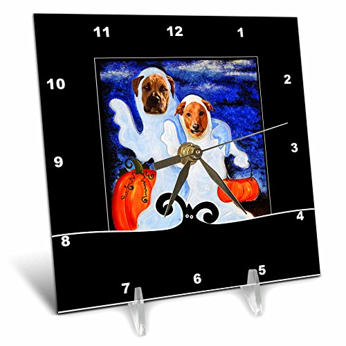 Cute Halloween Desktop Pics (3dRose Doreen Erhardt Halloween Collection - Cute Ghost Dogs in Costumes Halloween Painting Pumpkin Patch - 6x6 Desk Clock (dc_264274_1))