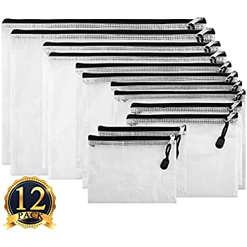 SUBANG 12 Pack Black Zipper Pouch Zipper File Bags File Holders with Grid Travel Pouch, 6 Sizes