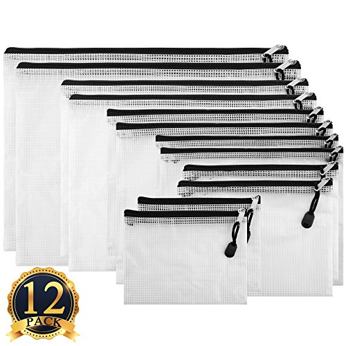 SUBANG 12 Pack Black Zipper File Bags in 6 Sizes, File Holders with Grid Travel (Transparent Pouch)