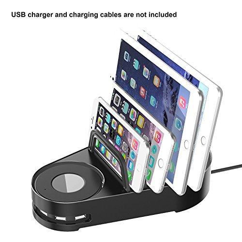 Vogek 6-Port USB Charger with 5 Slots Charging Stand Dock Multi Device Organizer for Smartphones & Tablets - Black