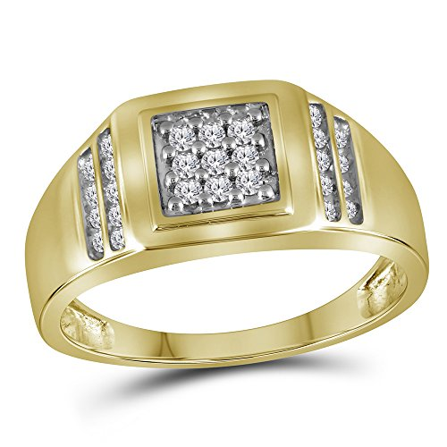Gold Mens Cluster Ring (14kt Yellow Gold Mens Round Diamond Square Cluster Ring 1/4 Cttw)