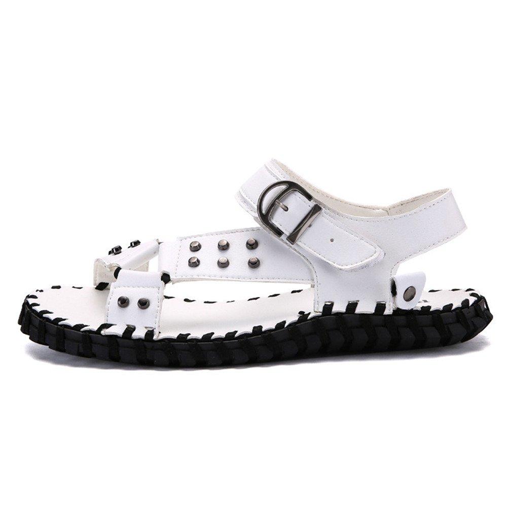 Xiaoqin Herren Offene Kappe Sandalen Casual Comfort Sandalen Kappe Rutschfeste Einstellbare Sommer Sandalen Römische Sandalen (Farbe : Braun, Größe : 42 EU) Weiß 082d32