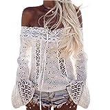 (US) MENOW Women Off Shoulder Long Sleeve Lace Loose Blouse Tops T-Shirt (XL, White)