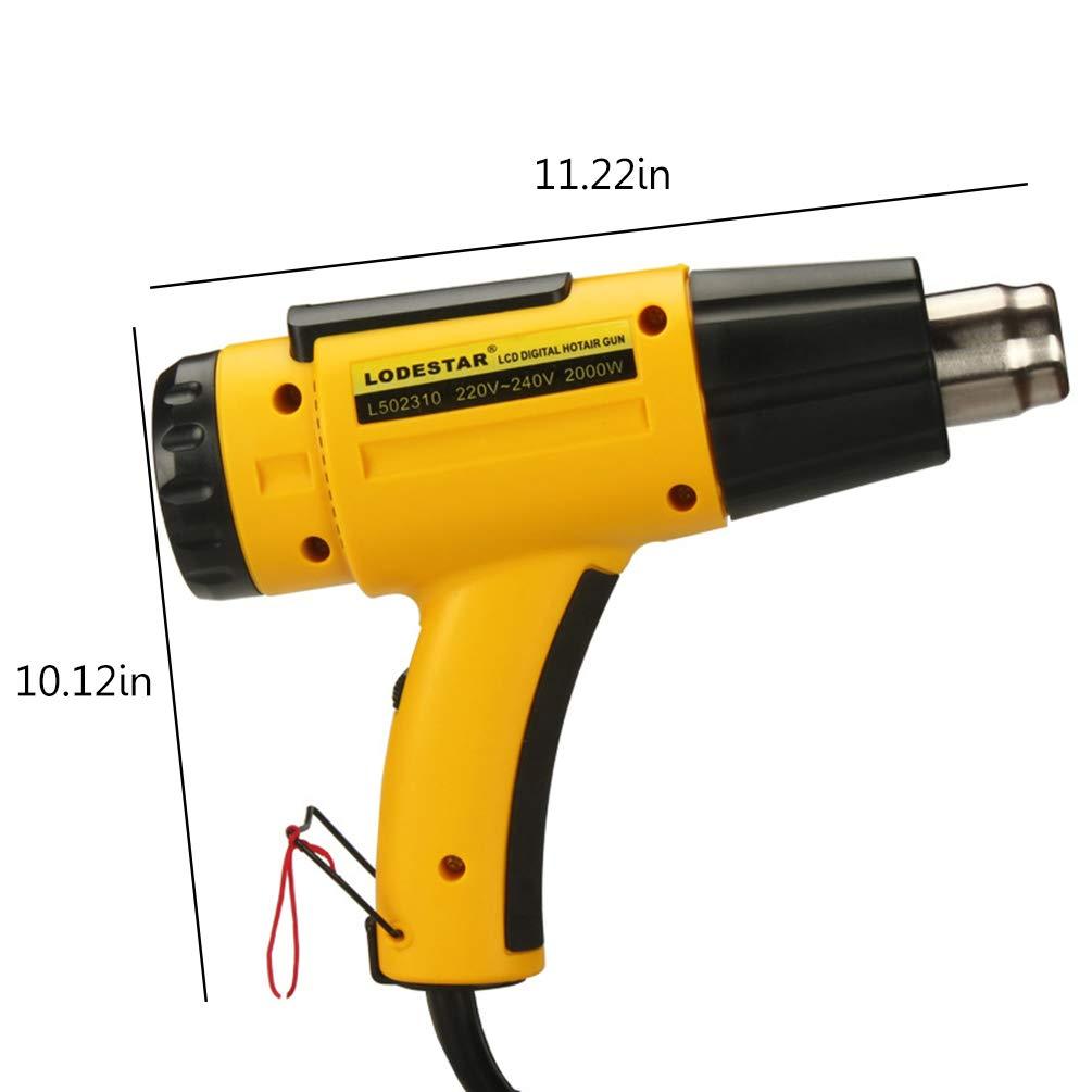 Pistolet /à Chaleur 2000W Chauffage Rapide R/églable Affichage Lcd Affichage Pistolet /à Air Chaud avec Anneau Articul/é pour Tubes /à Souder R/étr/écissant Pvc