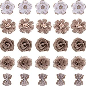 Tatuo 25 Pieces Natural Burlap Flowers with Lace Faux Pearls Burlap Rose Bow Knot for Party Decorations Rustic Wedding Bouquets Table Centerpieces Christmas Decorations, 5 Styles 1