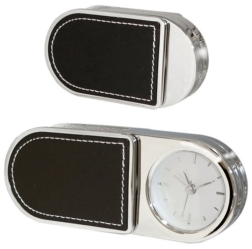 NATICO Folding Alarm Clock With Leather Trim (10-3964L)