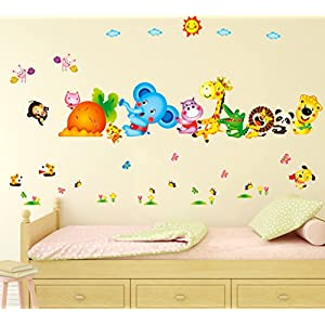 Decals Design 6900048 StickersKart Wall Stickers Kids Room Happy Cute Elephant Monkey Cartoon Animals for Baby Room Nursery Design Jungle Theme Vinyl (Wall Covering Area: 155cm x 105cm)