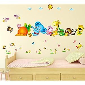Decals Design 6900048 StickersKart Wall Stickers Kids Room Happy Cute Elephant Monkey Cartoon Animals for Baby Room Nursery Design Jungle Theme Vinyl (Wall Covering Area: 155cm x 105cm)