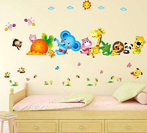 Decals Design 'Happy Cute Elephant Monkey Cartoon Animals' Wall Sticker (PVC Vinyl, 60 cm x 90 cm)
