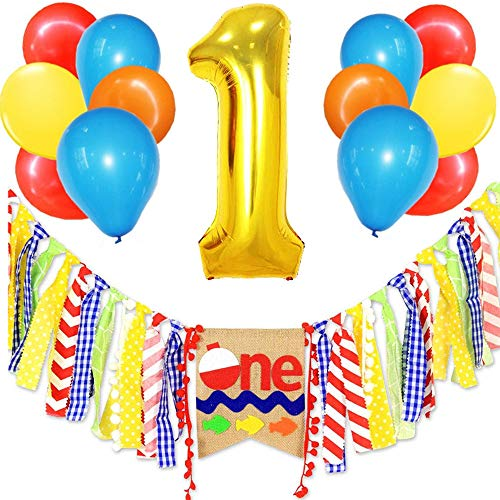 - Fishing Themed Highchair Banner The Big One Fisherman 1st Birthday Party Decoration 1 Foil Balloon Photo Booth Props