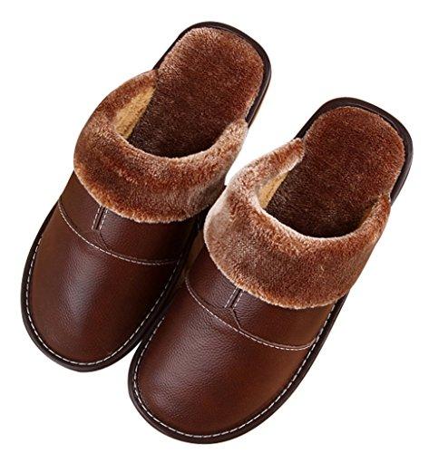 Cattior Hombres Forrado De Piel Cómoda Zapatillas De Cuero Interior Zapatillas Calientes Marrón Claro