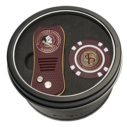 Seminole Golf - Team Golf NCAA Florida State Seminoles Gift Set Switchblade Divot Tool & Chip, Includes 2 Double-Sided Enamel Ball Markers, Patented Design, Less Damage to Greens, Switchblade Mechanism