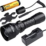 Evolva Future Technology T38 IR 38mm Lens Infrared Flashlight Light Night Vision Torch - Infrared Light is Invisible to Human Eyes (Torch+Battery+Charger+Rat Tail+Torch Mount)