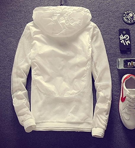Fit Mesh White Doufine Jacket Protection Men's Spell Hooded UV Hollow Color Sun xZCq4zw