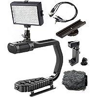 Sevenoak MicRig Video Bundle with Grip Handle, Stereo Microphone, LED Light, Shoe Extender Bracket, Windscreen, & Adapters for DSLR Cameras, Smartphones & GoPro