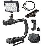 Sevenoak MicRig Video Bundle with Grip Handle - Stereo Microphone - LED Light - Shoe Extender Bracket - Windscreen - & Adapters for DSLR Cameras - Smartphones & GoPro