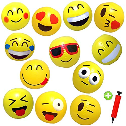 12 Emoji Beach Balls Inflatable 12
