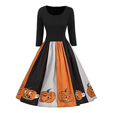 Darringls Vestido para Mujer Halloween, Vestido de Noche de Retro ...