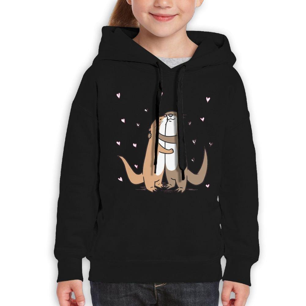 Love of Cartoon Otter Heart Kids' Hooded Youth Sweatshirt CARRYFUTURE