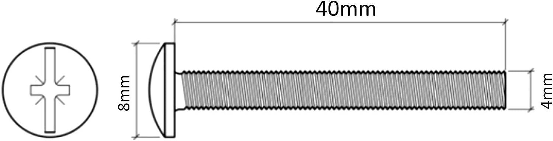 20 boulons sp/éciaux poign/ée Bouton de Porte Meuble tirroir M4 40mm C41525 AERZETIX