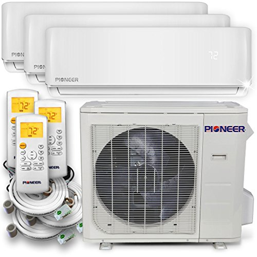 Pioneer Air Conditioner Inverter++ Ductless Wall Mount Multi Split System Air Conditioner & Heat Pump Full Set, Triple (3) (Heat Pump Hspf)
