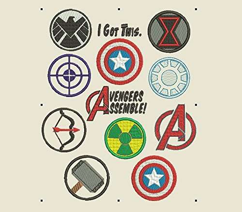 (Avengers Machine Embroidery Files-Ironman, Captain America, Hulk, Black Widow, Shield, Hawkeye, Thor Symbols and Icons .EXP .PES .JEF more file Types!)