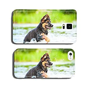 German shepherd puppy running in water cell phone cover case iPhone6
