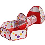 TRUEDAYS 3 in 1 Portable Pop up Kids Play Tent with Tunnel and Ball Pit Indoor and Outdoor Toys Play House Tent Tunnel Ocean Pool Colorful Polka Dot with Zippered Storage Bag