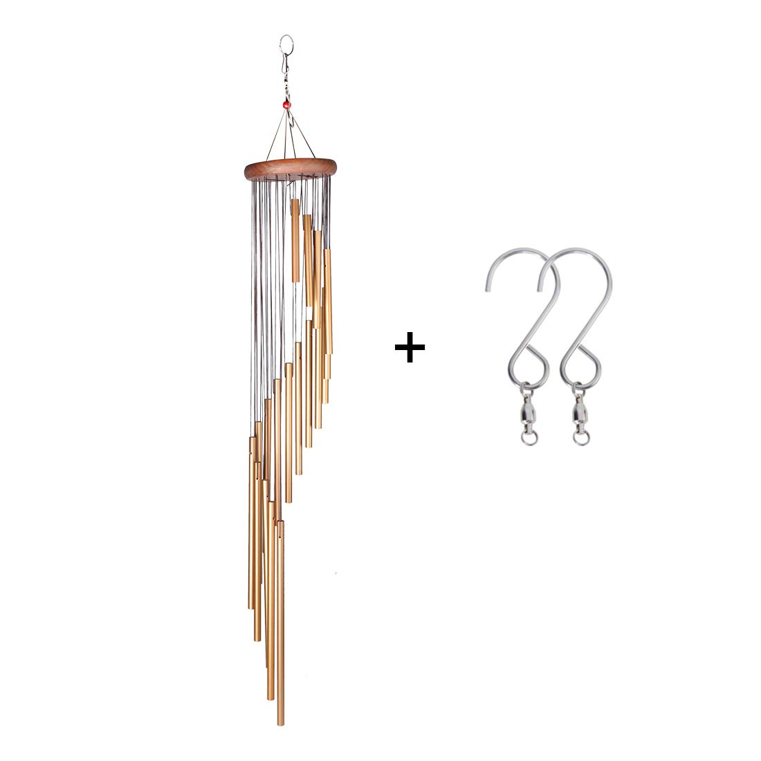 DEWEL Wind Chimes Amazing Grace Wind Chime with 18 Aluminum Alloy Tubes 36'' Large Wind Chimes with Free 2 Pack Hooks Home Decoration for Indoor Outdoor Patio Lawn Garden Balcony Porch Backyard